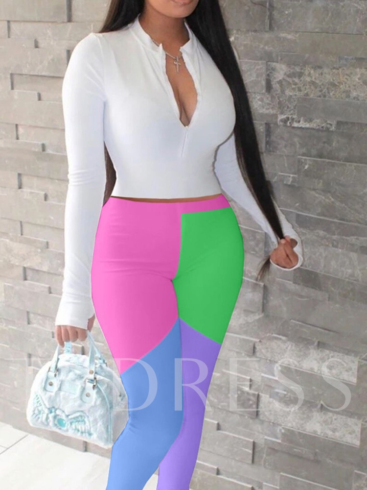T-Shirt Casual Color Block Bellbottoms Women's Two Piece Sets