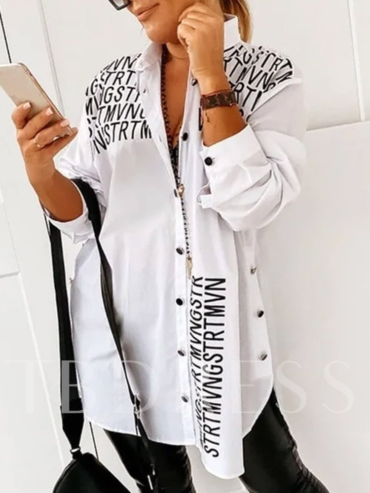 Button Letter Lapel Long Sleeve Women's Blouse