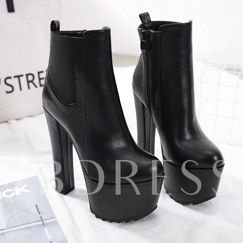 Patchwork Side Zipper Round Toe Chunky Heel Professional Boots