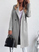 Lapel Long Pocket Double-Breasted Western Women's Trench Coat