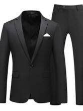 Plain Formal One Button Blazer Men's Dress Suit