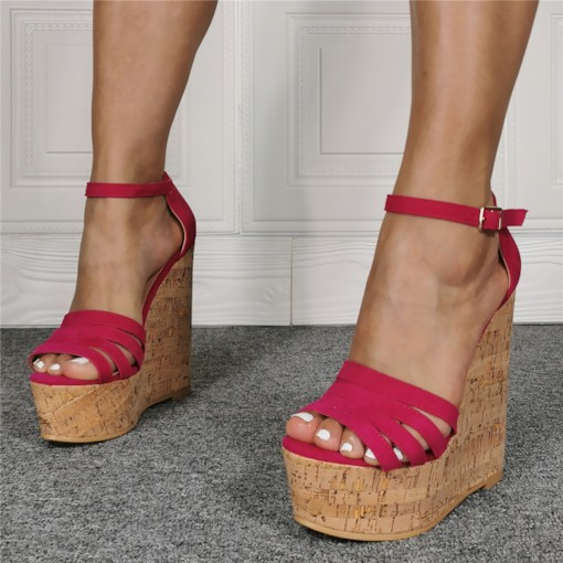 Open Toe Wedge Heel Heel Covering Line-Style Buckle Plain Sandals