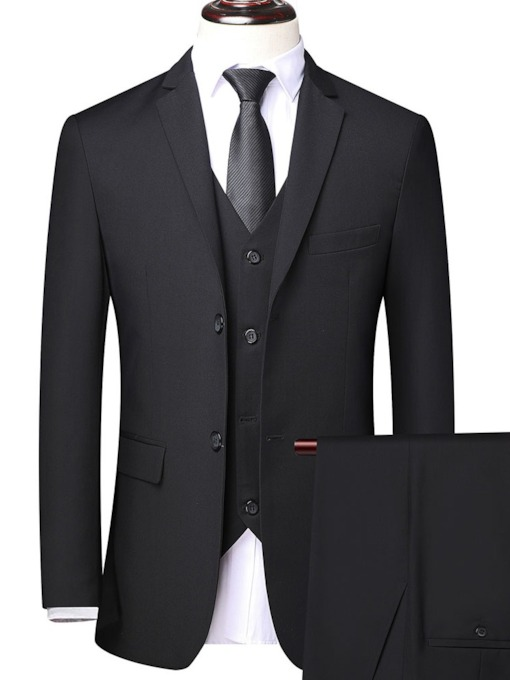 Button Formal Plain Vest Men's Dress Suit