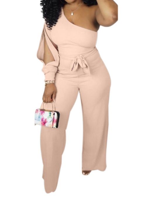 Simple Lace-Up Full Length Plain Loose Women's Jumpsuit