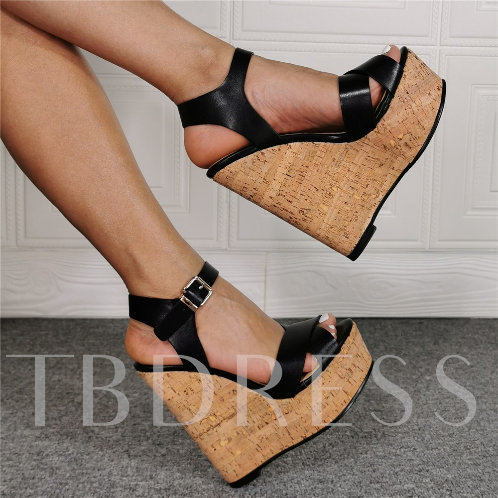 Fashion Open Toe Wedge Heel Buckle Casual Sandals