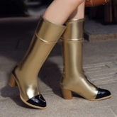 Chunky Heel Slip-On Round Toe Color Block Short Floss Boots