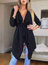 Mid-Length Lace-Up Long Sleeve Women's Trench Coat