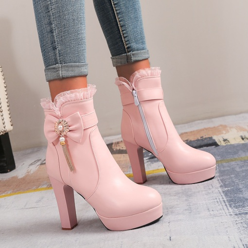 Side Zipper Round Toe Patchwork Chunky Heel Bow Boots