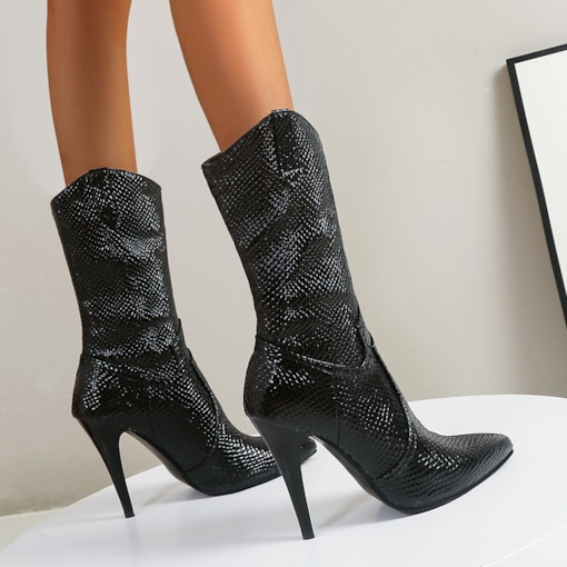 Slip-On Plain Pointed Toe Stiletto Heel Thread Boots