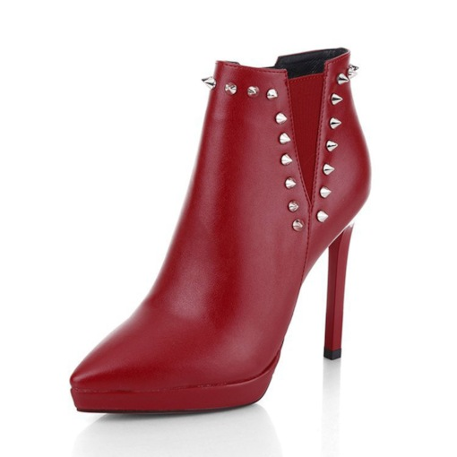Side Zipper Plain Pointed Toe Stiletto Heel Zipper Boots