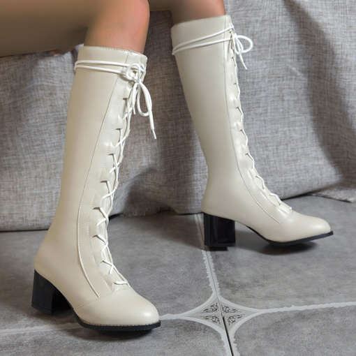Back Zip Chunky Heel Patchwork Round Toe Lace-Up Boots