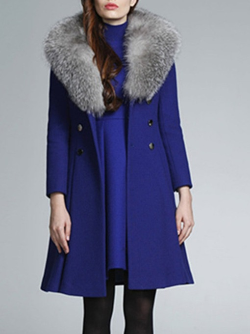 Slim Button Double-Breasted Winter Women's Overcoat