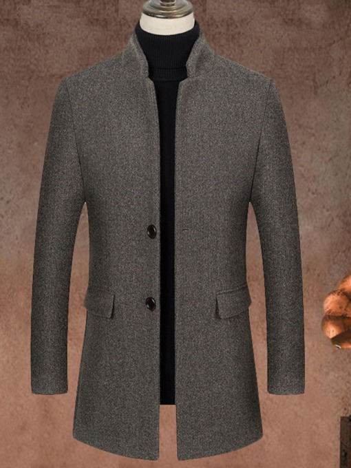 Plain Mid-Length Stand Collar Slim Men's Coat