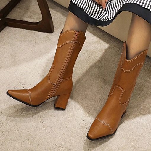 Pointed Toe Chunky Heel Side Zipper Plain Professional Boots
