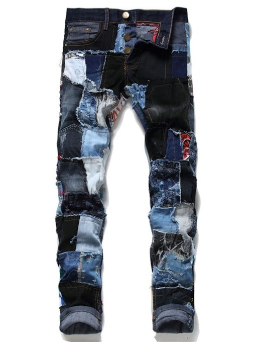 Color Block Straight Patchwork European Men's Jeans