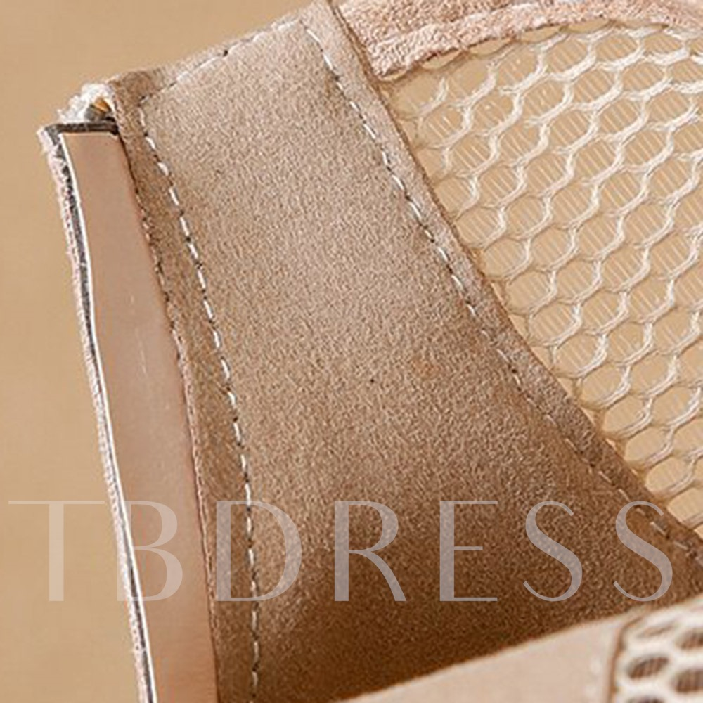 Plain Back Zip Pointed Toe Mesh Boots
