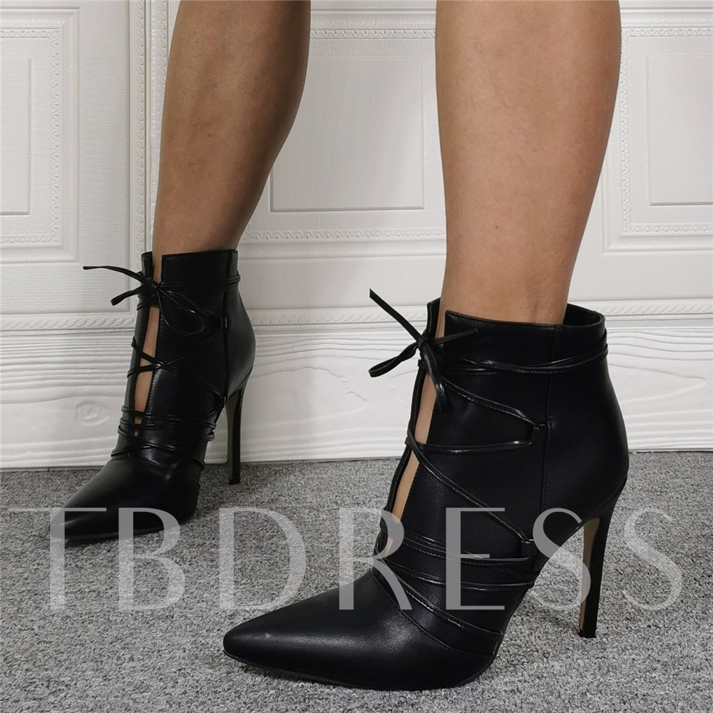Pointed Toe Stiletto Heel Plain Lace-Up Front Casual Boots
