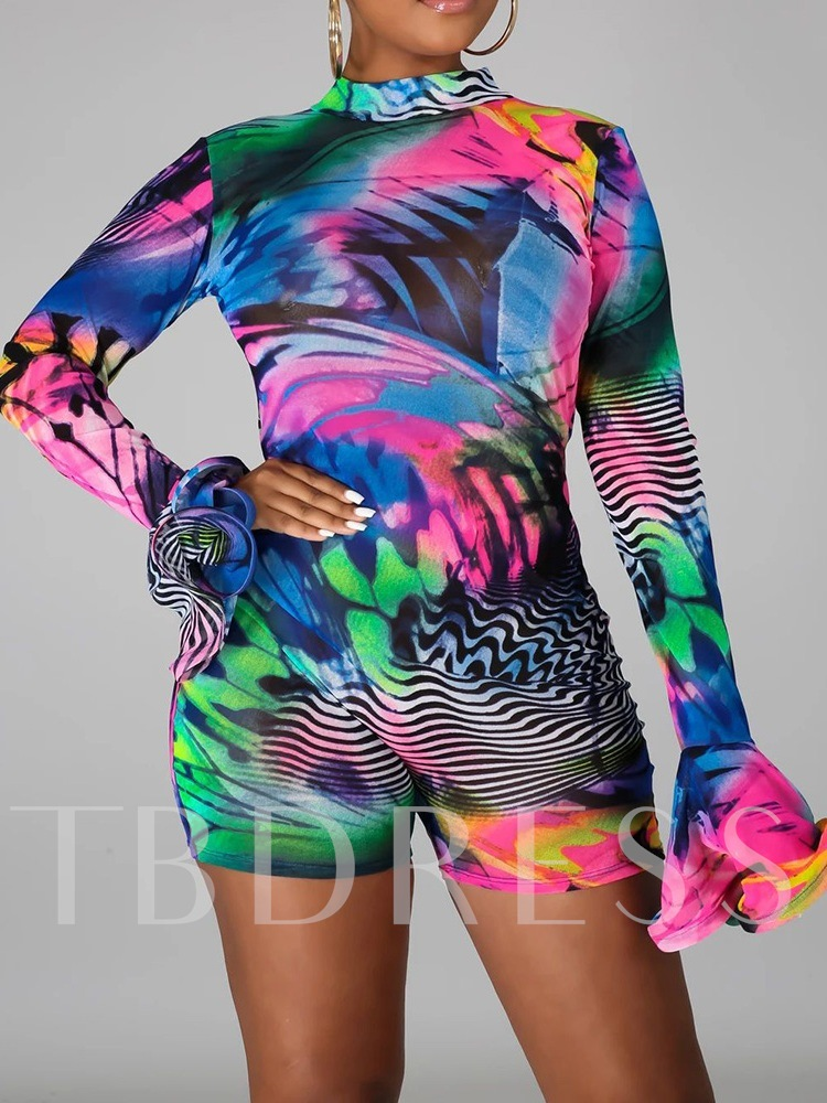 Backless Sexy Gradient Shorts Slim Women's Rompers
