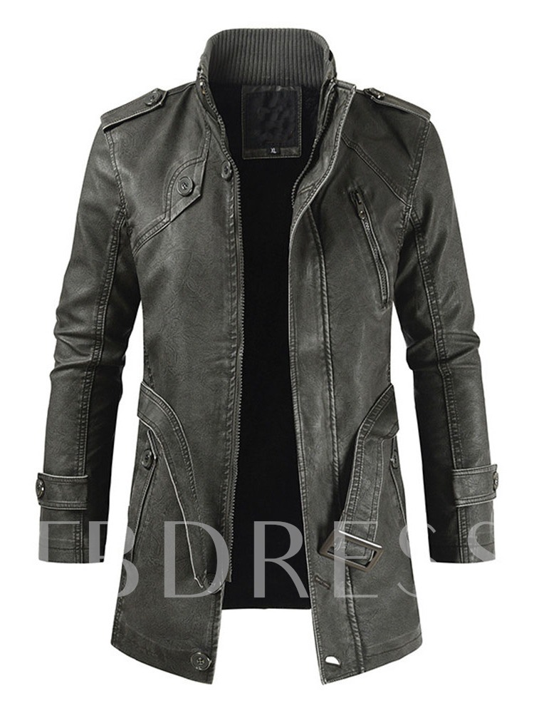 Plain Stand Collar Mid-Length Fall Men's Leather Jacket