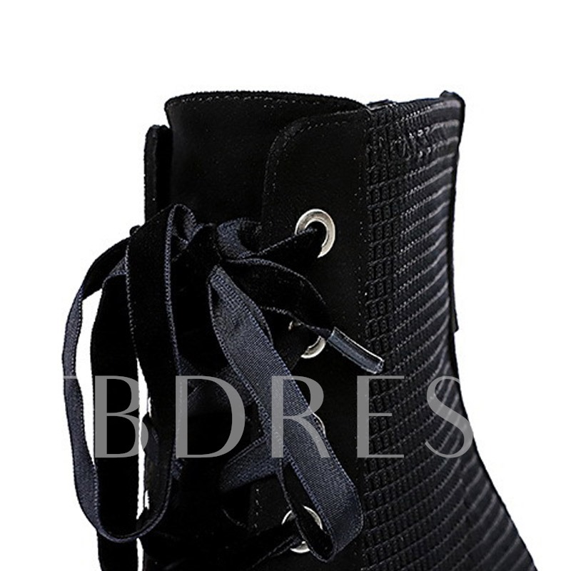 Pointed Toe Lace-Up Front Plain Western Boots