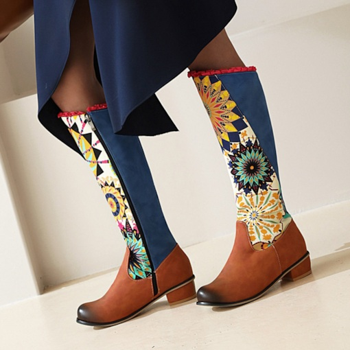 Side Zipper Geometric Round Toe Block Heel Print Boots