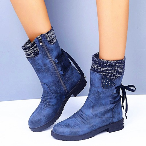 Patchwork Block Heel Side Zipper Round Toe Western Boots