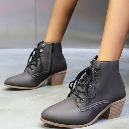 Round Toe Block Heel Plain Side Zipper Cross Strap Boots