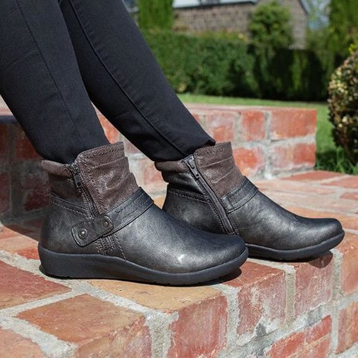 Round Toe Flat With Side Zipper Patchwork Casual Boots