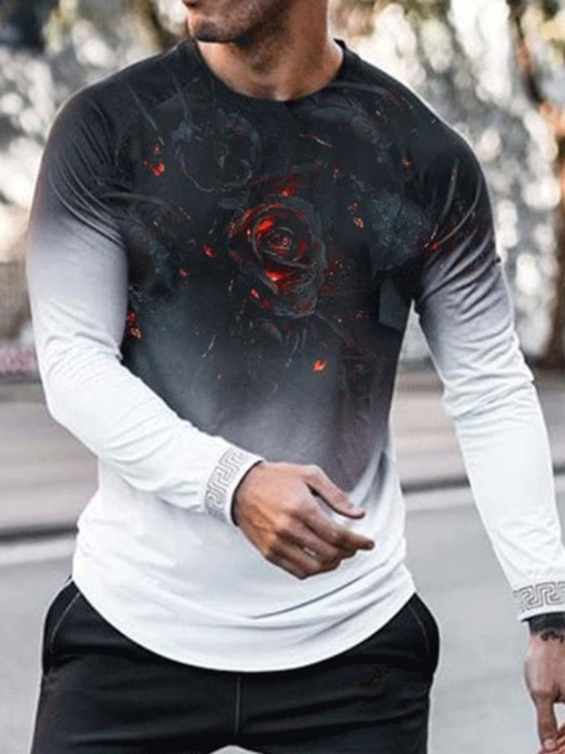Print Casual Floral Round Neck Long Sleeve Men's T-shirt