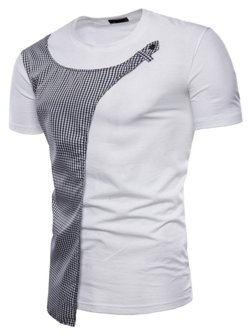 Plaid Patchwork Round Neck Casual Short Sleeve Men's T-shirt