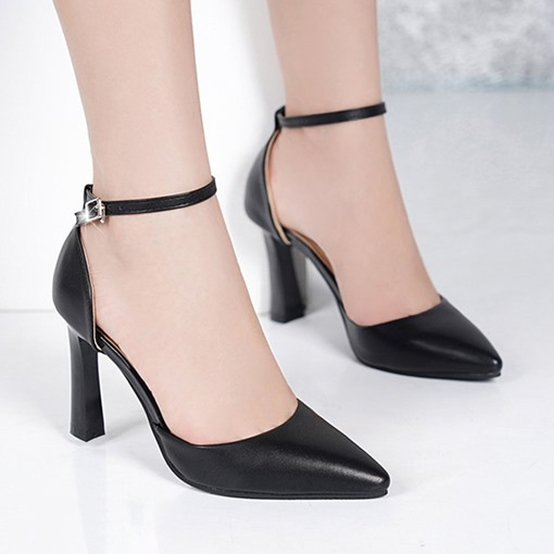 Buckle Stiletto Heel Buckle Pointed Toe Plain Thin Shoes