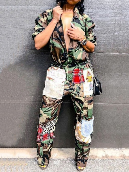 Camouflage Pants Zipper Western Zipper Women's Two Piece Sets