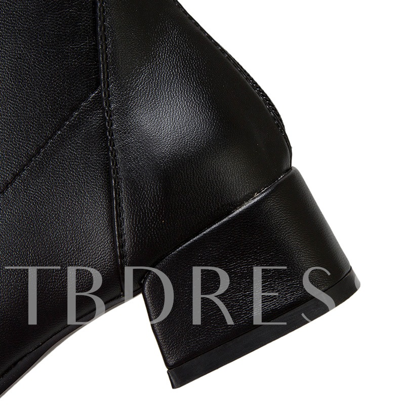 Back Zip Square Toe Block Heel Plain Thread Boots