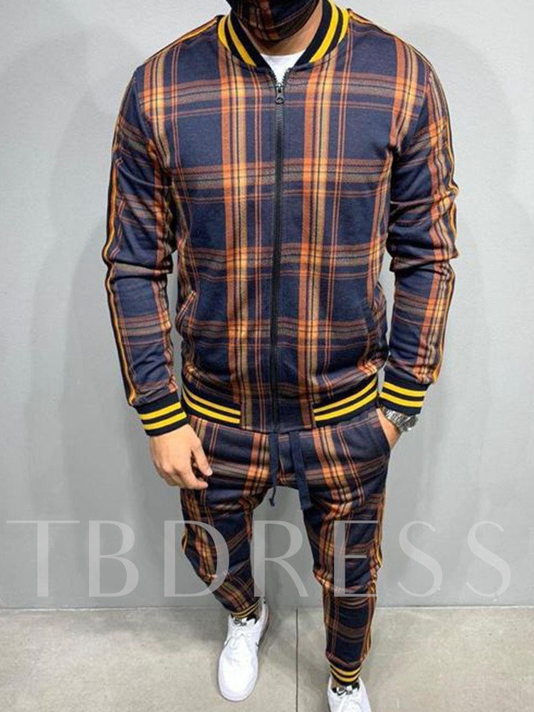 Plaid European Jacket Patchwork Long Sleeves Fall Men's Outfit
