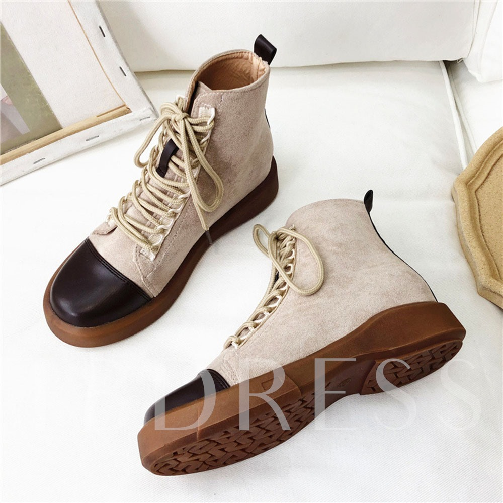 Lace-Up Front Flat With Round Toe Color Block Lace-Up Boots