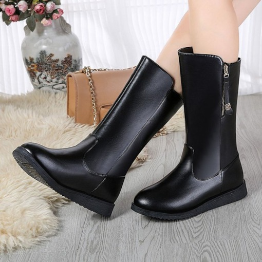Round Toe Plain Side Zipper Flat With Professional Boots