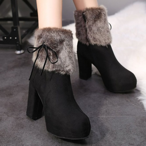 Patchwork Chunky Heel Side Zipper Round Toe Sweet Boots
