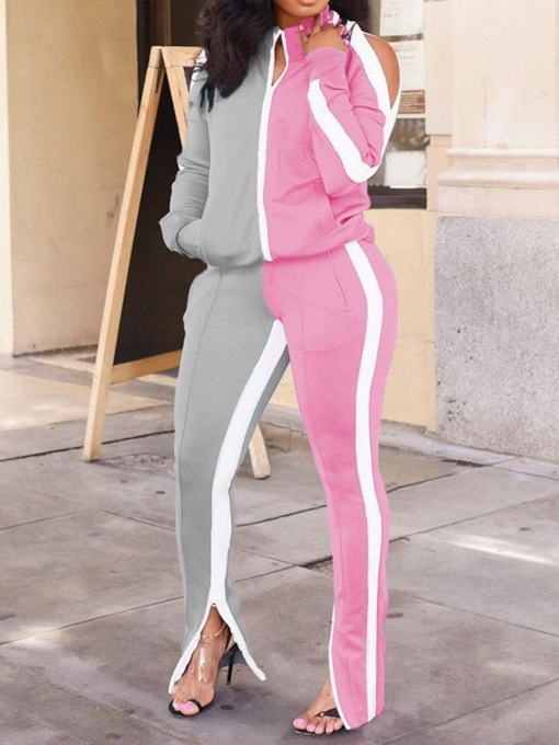 Jacket Color Block Pocket Sports Zipper Women's Two Piece Sets