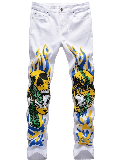 Print Skull Straight Zipper Men's Casual Pants