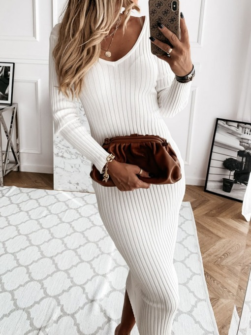 V-Neck Long Sleeve Mid-Calf Pencil Women's Dress
