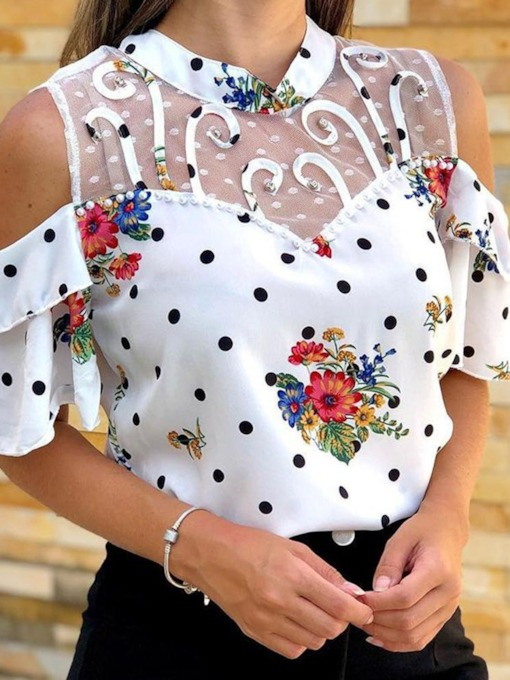 Floral Stand Collar Patchwork Standard Women's Blouse