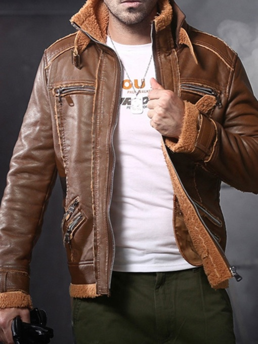 Stand Collar Plain Standard Casual Men's Leather Jacket
