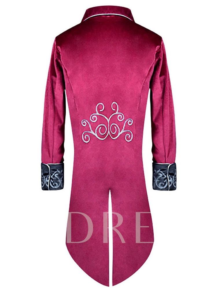 Color Block Embroidery Long Sleeve Men's Costumes