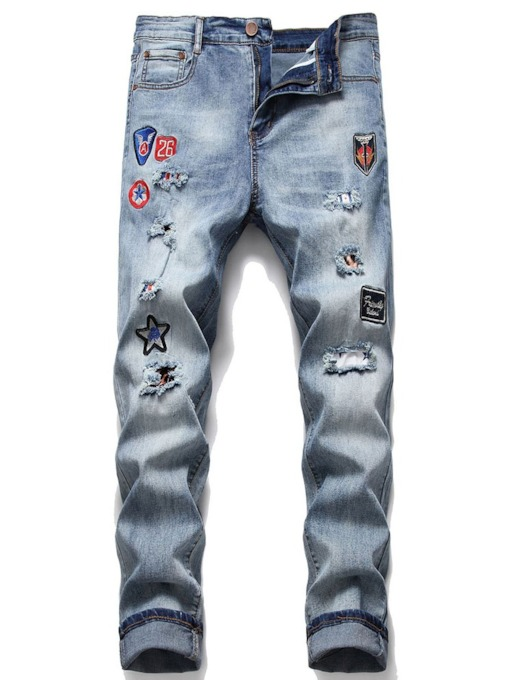Number Straight Worn Casual Men's Jeans