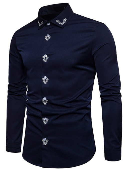 Embroidery Lapel European Single-Breasted Men's Shirt