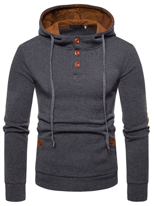Pullover Thick Patchwork Hooded Men's Hoodies