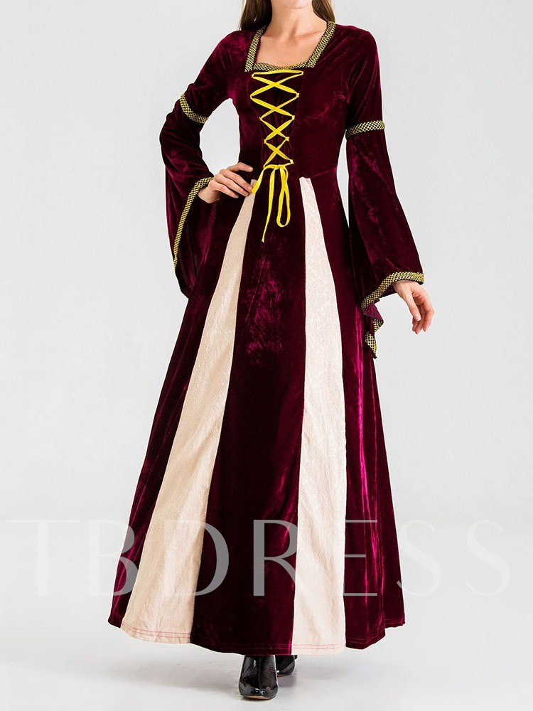 Color Block Lace-Up Vintage Long Sleeve Period Women's Costumes