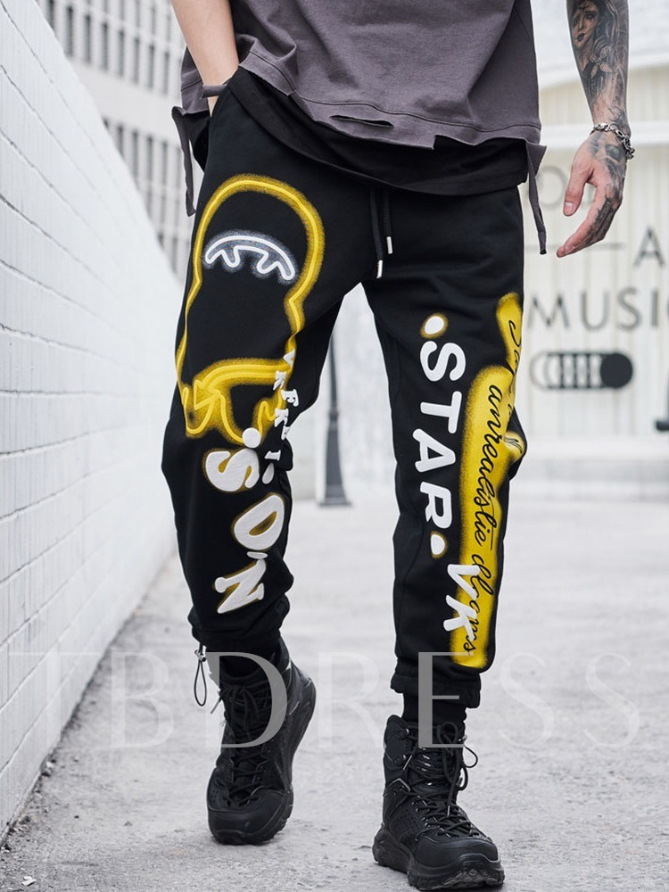 Letter Pencil Pants Print Hip Hop Men's Casual Pants