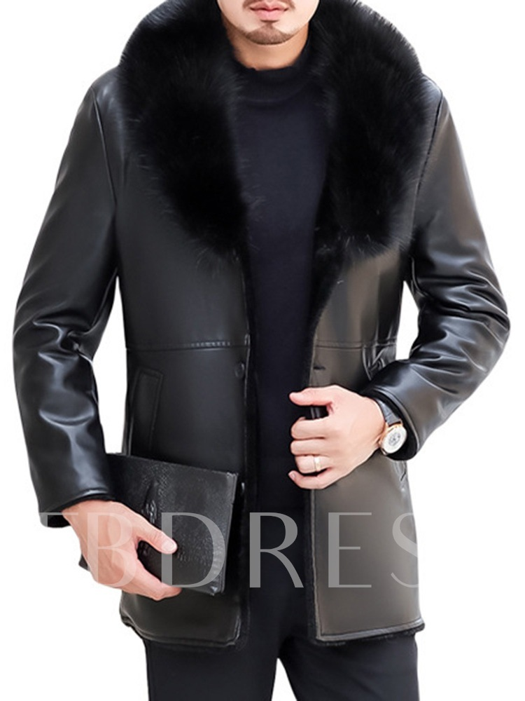 Lapel Mid-Length Plain Winter Men's Leather Jacket