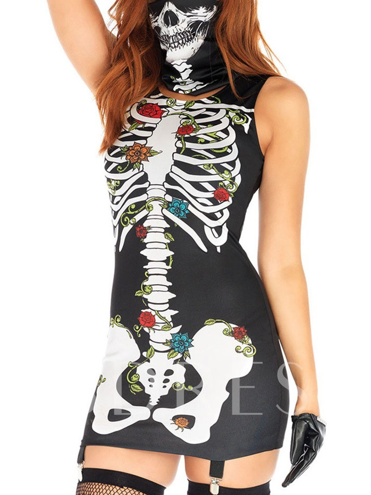 Western Print Skull Sleeveless Summer Women's Costumes